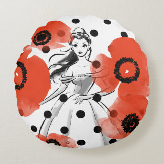 Belle With Poppies and Polka Dots Round Pillow