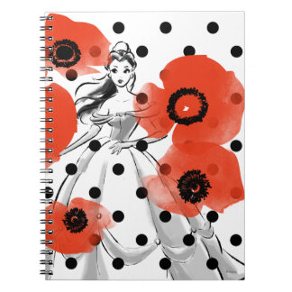 Belle With Poppies and Polka Dots Spiral Notebook