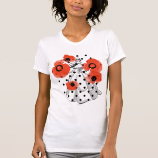 Belle With Poppies and Polka Dots T-Shirt