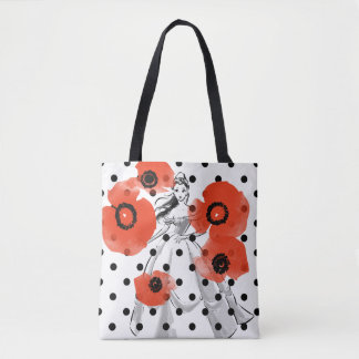 Belle With Poppies and Polka Dots Tote Bag