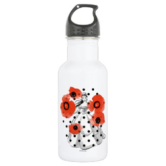 Belle With Poppies and Polka Dots Water Bottle