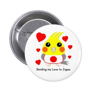 BelleBelle (cockatiel/bird) sending love to Japan Pinback Button