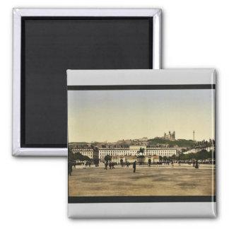 Bellecour Place, Lyons, France vintage Photochrom Fridge Magnets