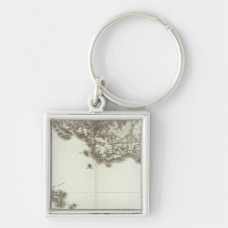 BelleIsle Silver-Colored Square Keychain