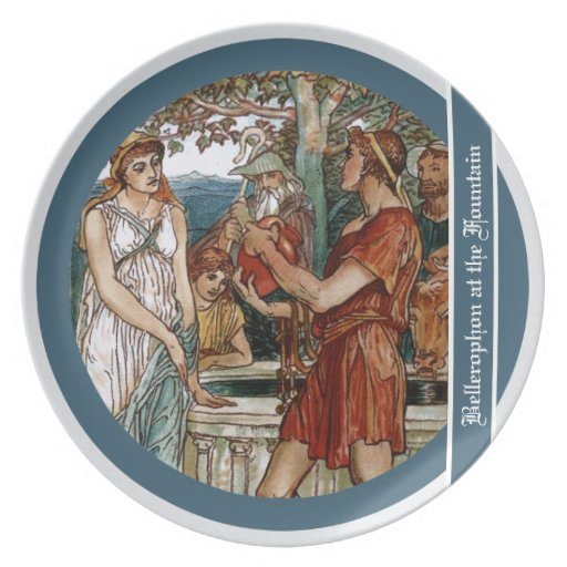 Bellerophon at the Fountain Dinner Plate