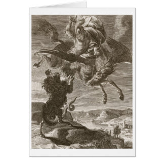 Bellerophon Fights the Chimaera, 1731 (engraving) Card