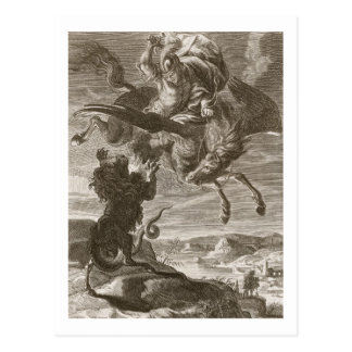 Bellerophon Fights the Chimaera, 1731 (engraving) Postcard