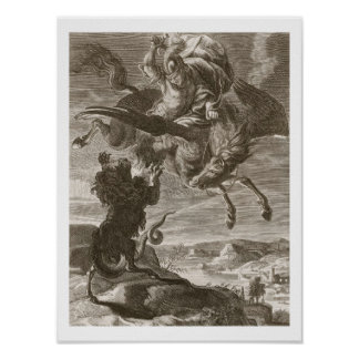 Bellerophon Fights the Chimaera, 1731 (engraving) Poster