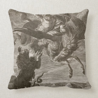 Bellerophon Fights the Chimaera, 1731 (engraving) Throw Pillow