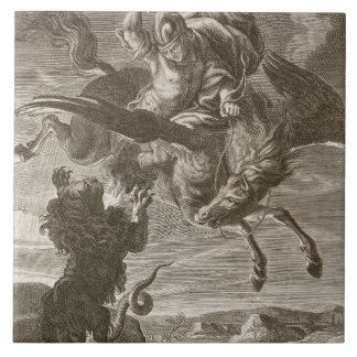Bellerophon Fights the Chimaera, 1731 (engraving) Tile