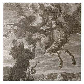 Bellerophon lucha las Quimeras, 1731 (el grabado) Azulejo Cuadrado Grande