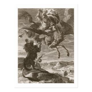 Bellerophon lucha las Quimeras, 1731 (el grabado) Postal