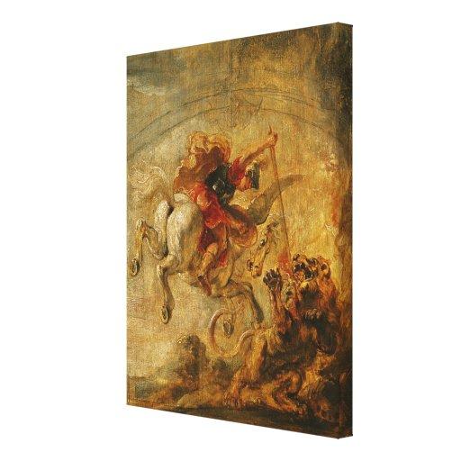 Bellerophon que monta Pegaso que lucha las Quimera Lona Envuelta Para Galerias