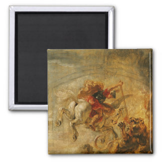 Bellerophon Riding Pegasus Fighting the Chimaera 2 Inch Square Magnet