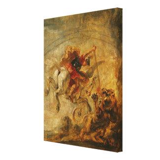Bellerophon Riding Pegasus Fighting the Chimaera Canvas Print