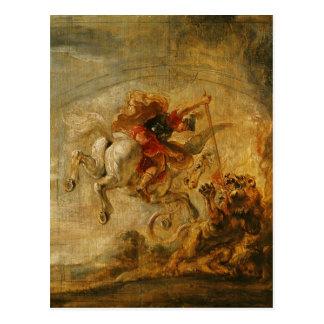 Bellerophon Riding Pegasus Fighting the Chimaera Postcard