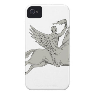 Bellerophon Riding Pegasus Holding Torch Drawing iPhone 4 Case