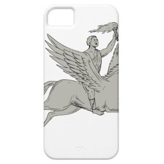 Bellerophon Riding Pegasus Holding Torch Drawing iPhone SE/5/5s Case