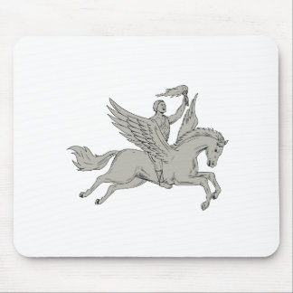 Bellerophon Riding Pegasus Holding Torch Drawing Mouse Pad