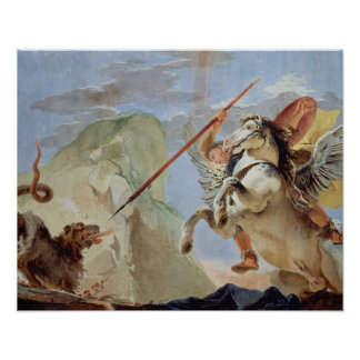 Bellerophon, riding Pegasus, slaying the Chimaera, Poster