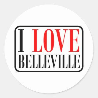 Belleville, diseño de la ciudad de Alabama Pegatinas Redondas