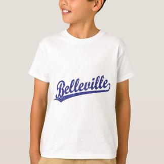 Belleville script logo in blue T-Shirt