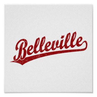 Belleville script logo in red poster