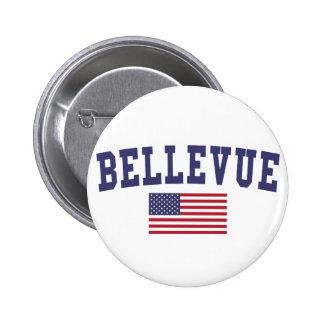 Bellevue NE US Flag 2 Inch Round Button