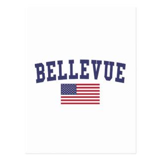 Bellevue NE US Flag Postcard