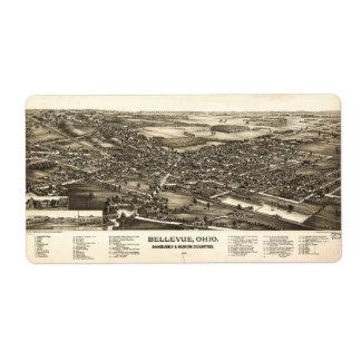 Bellevue Ohio Sandusky & Huron counties (1888) Label