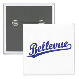 Bellevue script logo in blue 2 inch square button