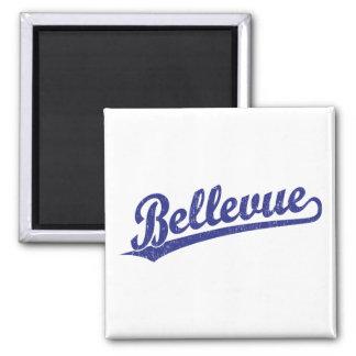 Bellevue script logo in blue magnet