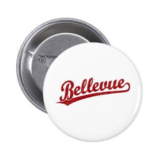 Bellevue script logo in red 2 inch round button
