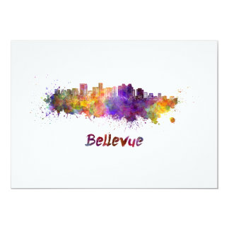 Bellevue skyline in watercolor card
