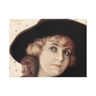 Belleza 1916 de la estrella de cine del vintage lienzo envuelto para galerias
