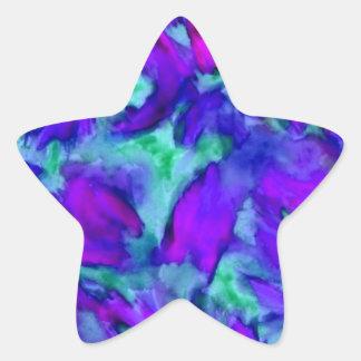 Belleza abstracta floral púrpura del diseñador de pegatina en forma de estrella