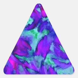 Belleza abstracta floral púrpura del diseñador de pegatina triangular