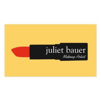 Belleza amarilla intrépida del logotipo del lápiz tarjetas de visita