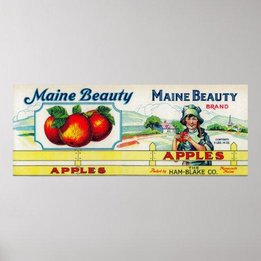Belleza Apple LabelMonmouth, YO de Maine Póster