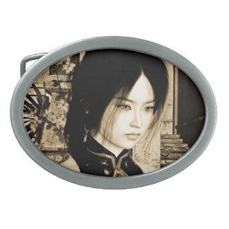 Belleza asiática hebilla de cinturón oval