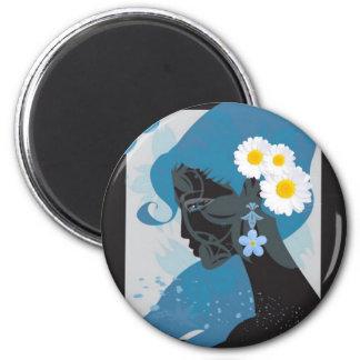 belleza azul imán redondo 5 cm