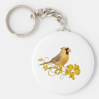 Belleza cardinal amarilla llavero personalizado