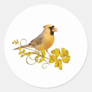 Belleza cardinal amarilla pegatinas redondas