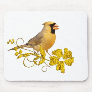 Belleza cardinal amarilla alfombrillas de ratones