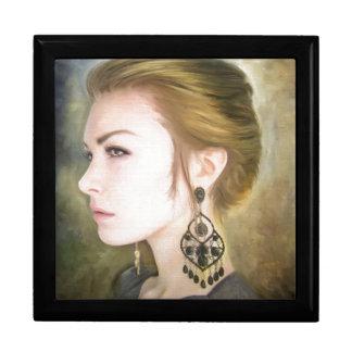 Belleza clásica del arte de la pintura del retrato cajas de recuerdo