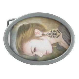 Belleza clásica del arte de la pintura del retrato hebillas cinturon ovales