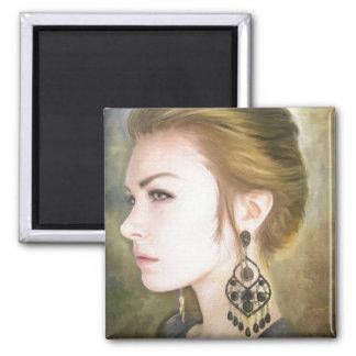 Belleza clásica del arte de la pintura del retrato imán de nevera