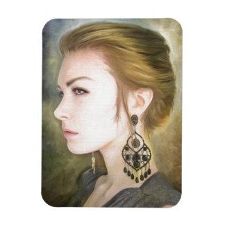 Belleza clásica del arte de la pintura del retrato imanes de vinilo