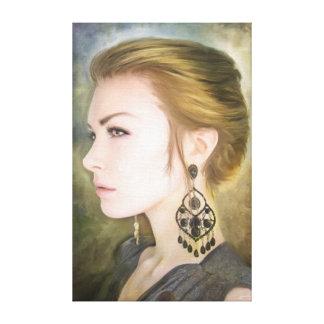 Belleza clásica del arte de la pintura del retrato impresión en lona