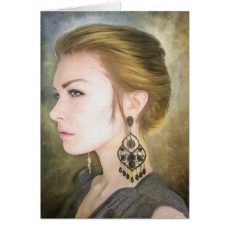 Belleza clásica del arte de la pintura del retrato tarjetón